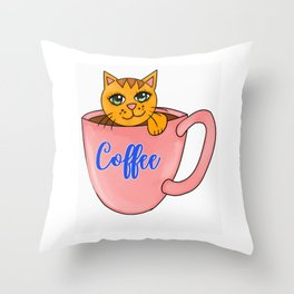Coffee cute cats Throw Pillow