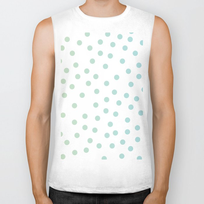 Simply Dots in Turquoise Green Blue Gradient on White Biker Tank
