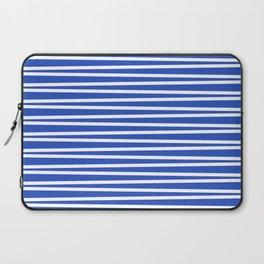 Classic blue and white thin horizontal stripes Laptop Sleeve