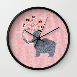 Happy Elephant and cute birds Wall Clock