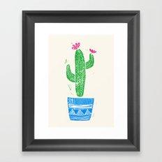 Linocut Cacti #2 in a pot Framed Art Print