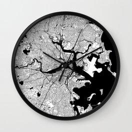 Boston Black and White Map Wall Clock