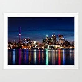 Toronto Skyline At Night From Polson St No 2 Art Print