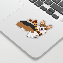 corgi wizard welsh corgis potter wizarding school pattern Sticker