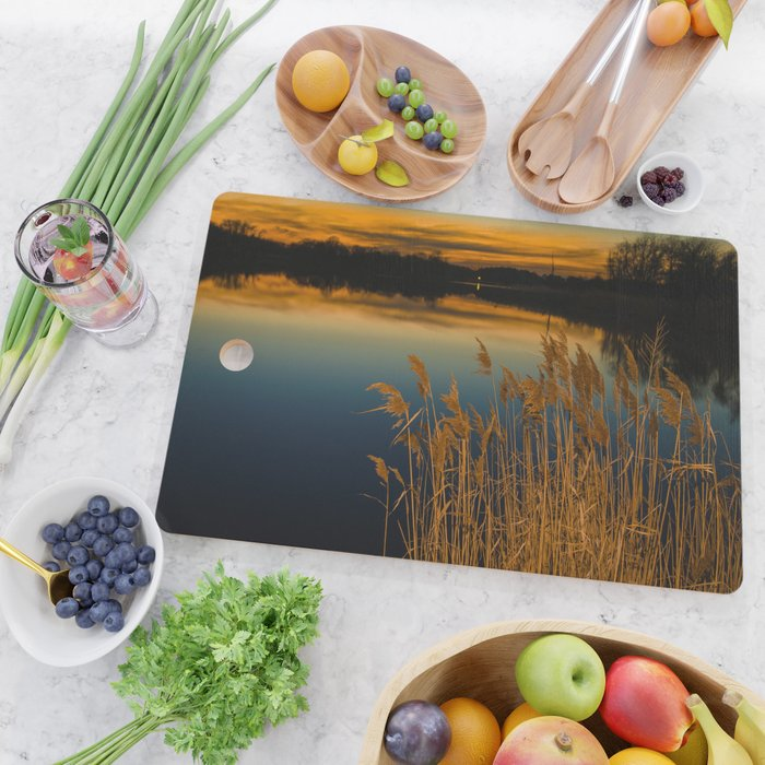 Nature Landscape Photography - Sunset at Reedy Point Pond Cutting Board