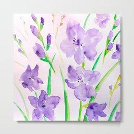 Watercolor blue flowers  gladiolus  Metal Print