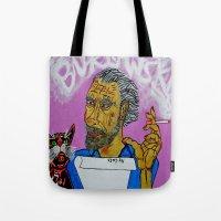 bukowski Tote Bags featuring Bukowski by Pluto00Art / Robin Brennan