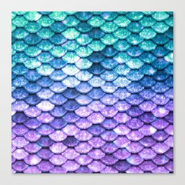 Mermaid Ombre Sparkle Teal Blue Purple Canvas Print