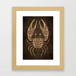 Vintage Rustic Cancer Zodiac Sign Framed Art Print