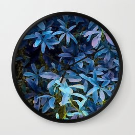 Impression, Blue Leaves Wall Clock