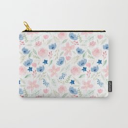 Blush Pink and Dusty Blue Watercolor Florals Carry-All Pouch