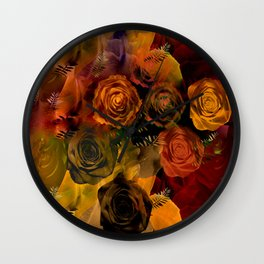 Autumn Roses Wall Clock