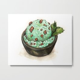 Mint Chocolate Chip Ice Cream Metal Print