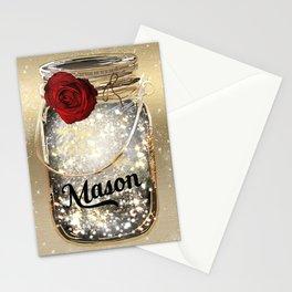 Gold Sparkle Mason Jar Stationery Cards