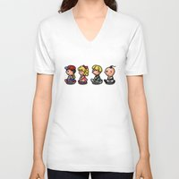 earthbound V-neck T-shirts featuring Earthbound Guys by likelikes