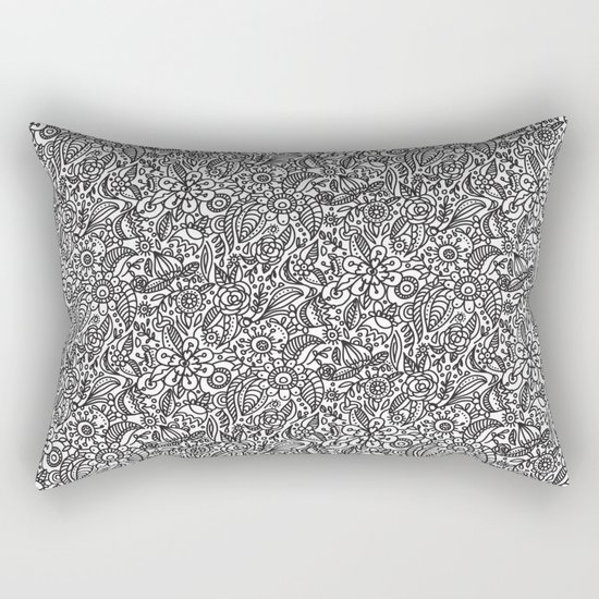 Modern Botanical Pillow : Black and white floral pattern. Abstract flowers. Modern botanical sketch Rectangular Pillow by ...