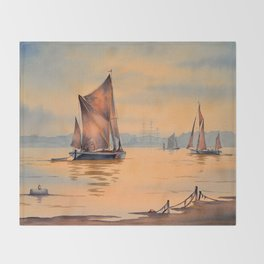 Barges On The River Thames Greenwich London Throw Blanket