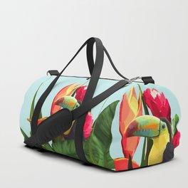 Toucan Tropical Banana Leaves Bouquet Duffle Bag