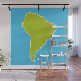 South America map blue ocean and green continent. Vector illustration Wall Mural