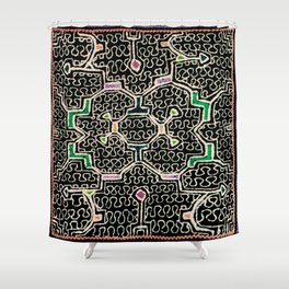 Song for Good Work - Traditional Shipibo Art - Indigenous Ayahuasca Patterns Shower Curtain