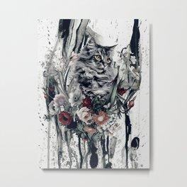 Cat in flowers Metal Print