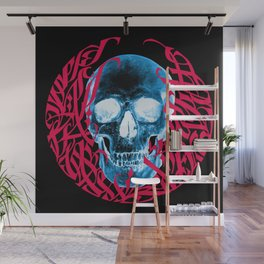 Gothic Calligraphy on Skull saying Always Hungry Wall Mural
