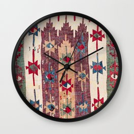 Horizontal Band Kilim 19th Century Authentic Colorful Purple Green Bands Vintage Patterns Wall Clock
