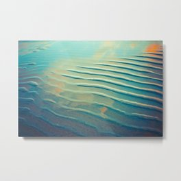 Ocean waves in teal Metal Print
