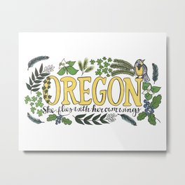 Oregon State Motto Bird Flower Nature Hand Drawn Art Metal Print