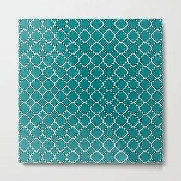 Teal Clover Pattern Metal Print
