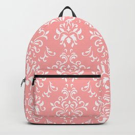 White And Coral Vintage Damask Pattern - Mix & Match with Simplicity of Life Backpack