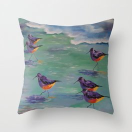 Dance of the Sandpipers Throw Pillow