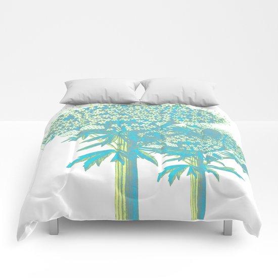 turquoise botanical Comforters