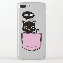 catty pocket Clear iPhone Case
