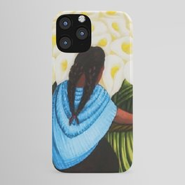 Flower Seller floral calla lilies portrait painting by Diego Rivera iPhone Case