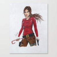 megan lara Canvas Prints featuring Lara by AmileeKae