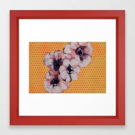 Flowers Over Polka Dots Framed Art Print