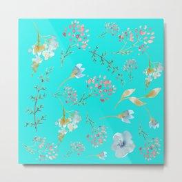 Mint Wild Flower Garden Metal Print