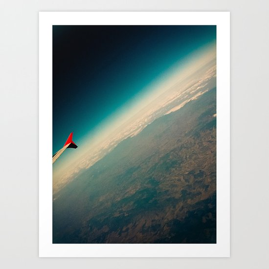 Wing, Clouds and land Art Print