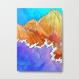 As the waves hit the sandy cliffs Metal Print