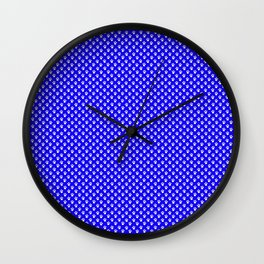 Tiny Paw Prints Pattern - Bright Blue & White Wall Clock