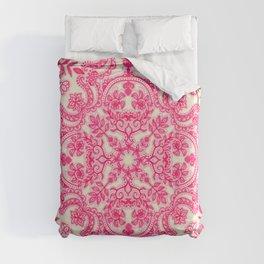 Hot Pink & Soft Cream Folk Art Pattern Duvet Cover