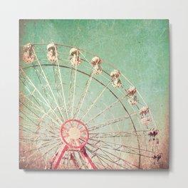 Ferris Wheel on Blue Textured Sky  Metal Print