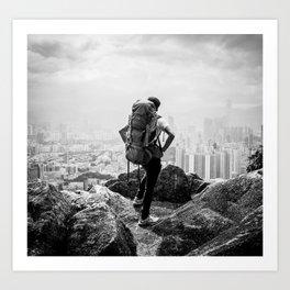 Hiker Over the City Art Print