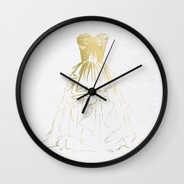 Little Gold Ball Gown Dress Wall Clock