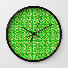 Gold horseshoes and four leaf clovers that are lucky for some Wall Clock