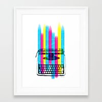 typewriter Framed Art Prints featuring Typewriter by Elizabeth Cakovan