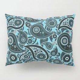 Cyan Blue Paisley Pattern Pillow Sham
