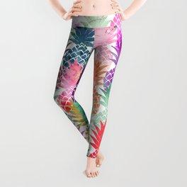 Bright exotic pineapples pastel watercolor pattern Leggings