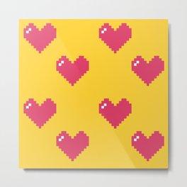 8bit Heart Metal Print